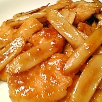 フライパンで簡単!鶏むね肉とごぼうの南蛮酢焼き♪