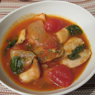 鶏もも肉とケールのトマト煮