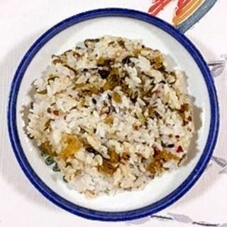 三十雑穀で作る、辛子たかなの混ぜご飯
