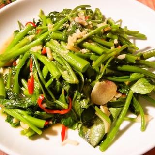 タイの人気炒め物パップンファイデーン空芯菜の炒め物