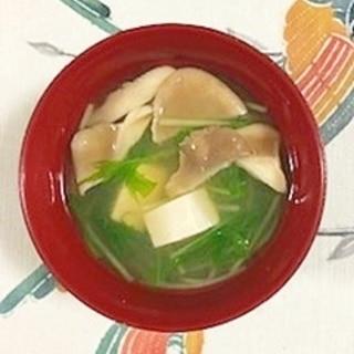 水菜、塩とうふ、あわび茸のお味噌汁