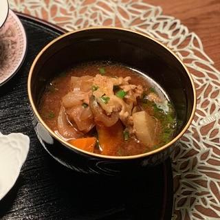 50度洗い塩麹豚の玉ねぎたっぷり豚汁