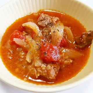 炊飯器でほったらかし♪牛肉と新玉ねぎのトマト煮込み