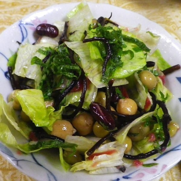 ひじきビーンズレタスの梅サラダ