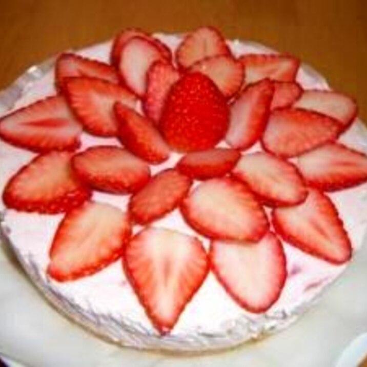 カロリー半分(?)いちごレアチーズケーキ