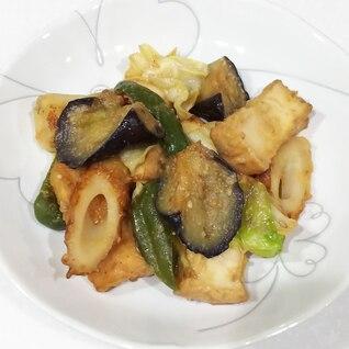 厚揚げとちくわと野菜の味噌炒め
