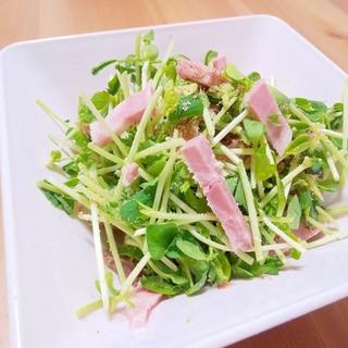豆苗とローストポークの胡麻サラダ