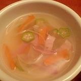 とろ~ん☆オクラとベーコンの簡単スープ