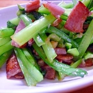 小松菜ベーコンの塩麹炒め