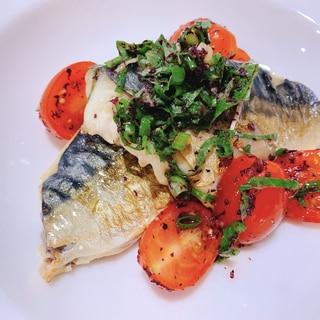 魚のトマトしそゆかりソース