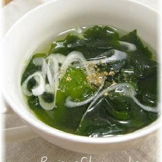 ワカメと長ねぎの簡単コンソメスープ
