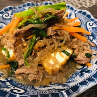 牛肉と厚揚げ、糸こんにゃくのすき焼き風煮炒め