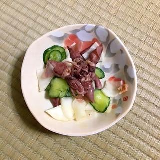 カブとキュウリとホタルイカの酢味噌和え。