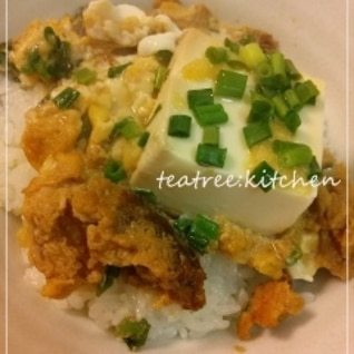 簡単ランチに!豆腐と松山あげの卵丼