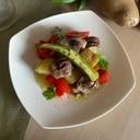 たっぷり野菜と砂肝のアヒージョ