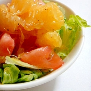 簡単甘夏とトマトのサラダ