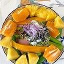 レタス 、オレンジ、パインのサラダ~♪