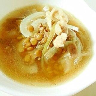今すぐに♪豚バラとレンズ豆のコンソメスープ