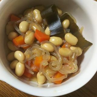 大豆と昆布と糸こんにゃくの煮物