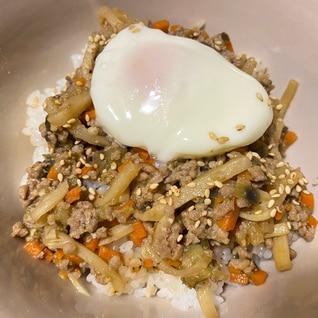 茄子と豚挽肉の味噌炒め丼
