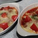 レンジで時短 豚こま美味しいトマトチーズ焼き