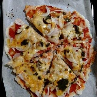 米粉生地のトマトピザ