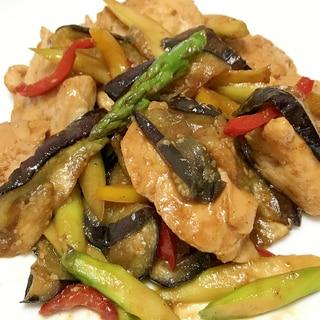 鶏むね肉とアスパラとなすのスタミナ炒め