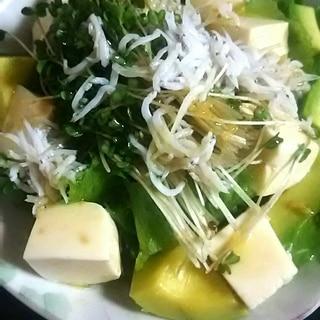 しらすとアボカドの豆腐サラダ