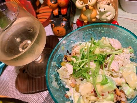 アボカドと鶏ささ身のハニーマスタードマヨサラダ
