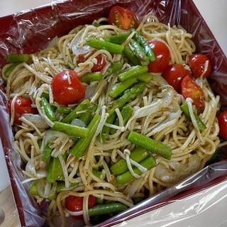 簡単♪バジルソースとアスパラで春のスパゲティー♡