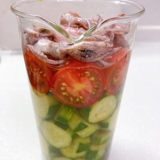 イカときゅうりとトマトの簡単酢の物♪