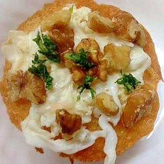 蟹マヨとクルミとパセリのフランスパントースト