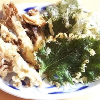 【夫婦のおつまみ】サクッと旨い!舞茸と大葉の天ぷら