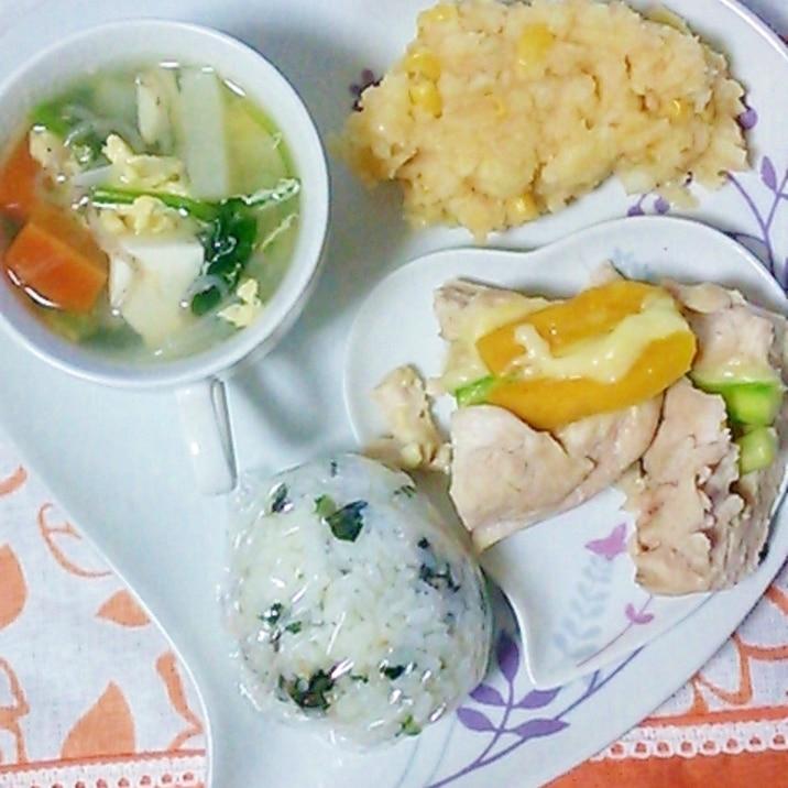 野菜のかきたま汁と鶏胸ロールの☆ダイエットプレート