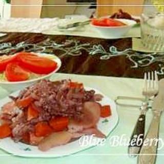 豚肉とじゃがいもの赤ワイン蒸し
