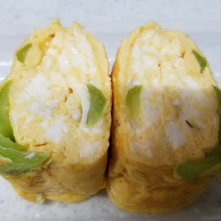 しらす、小松菜、鰹節の醤油卵焼き