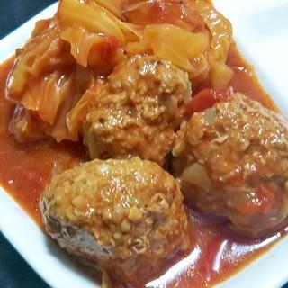 電気圧力鍋で♪ 肉だんご&キャベツのトマトスープ煮