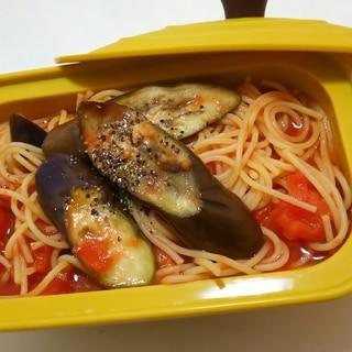 レンジで時短てきとうなトマトとなすのスパゲティ