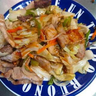 牛肉と豚肉の野菜炒め