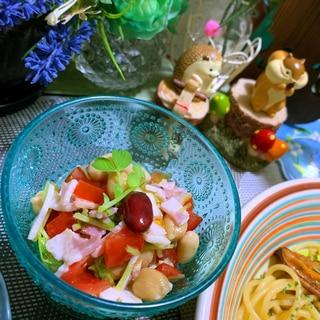 ベーコンとお豆とトマトのサラダ