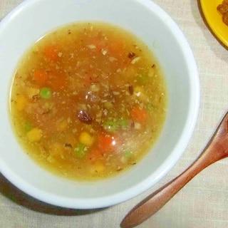 レモンとカレー味のスープ