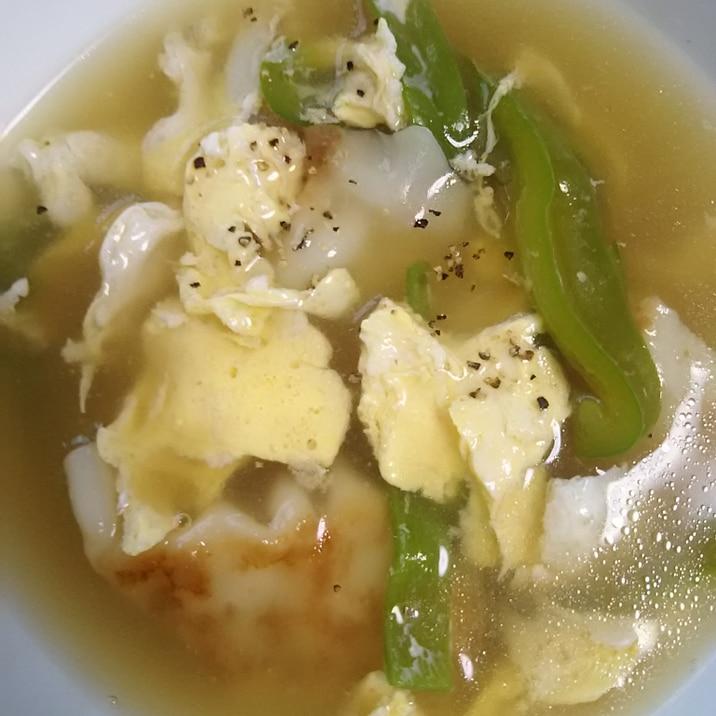 餃子とピーマンの卵スープ(^^)