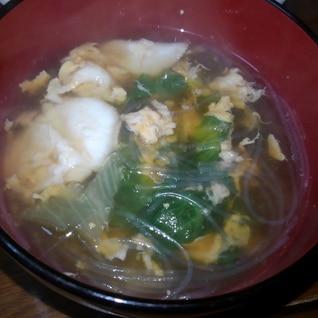 つるつる春雨入り…レタスのふんわりたまごのスープ
