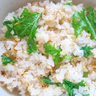 わさび菜と卵の炒飯