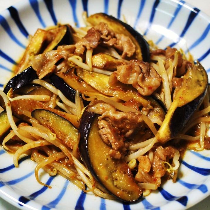 豚肉となすともやしのピリ辛みそ炒め