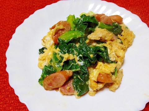 レタス外葉とウインナーの卵炒め