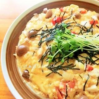 卵豆腐でふわふわオープンオムレツ