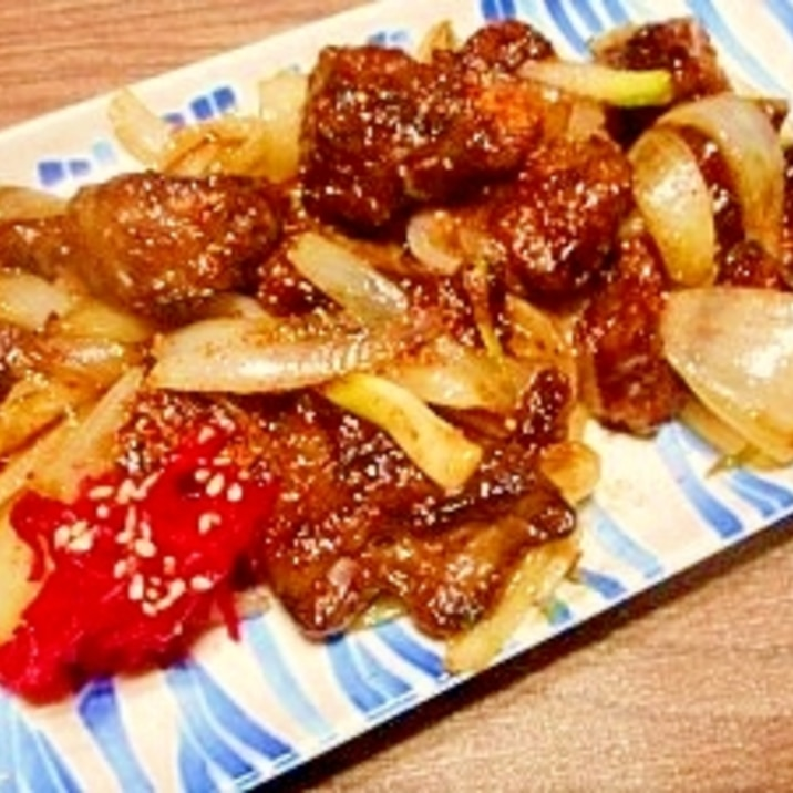 鶏レバーと玉葱☆甘辛炒め