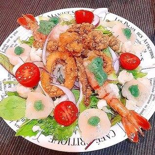 ホタテとイカとボタン海老のシーフードサラダ♪