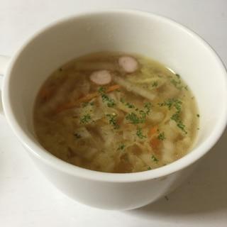 余った白菜と人参で!コンソメスープ
